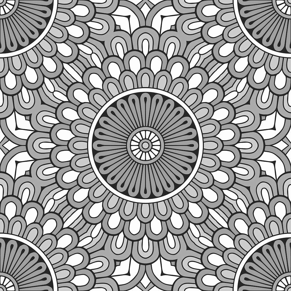 Grey Flower Mandala by roseglasses