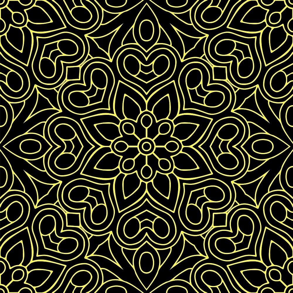 Yellow Line Art on Black by roseglasses