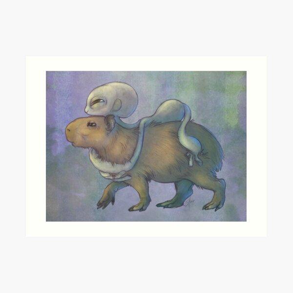 Grey and Capybara Art Print