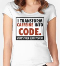 I transform caffeine into code Women's Fitted Scoop T-Shirt