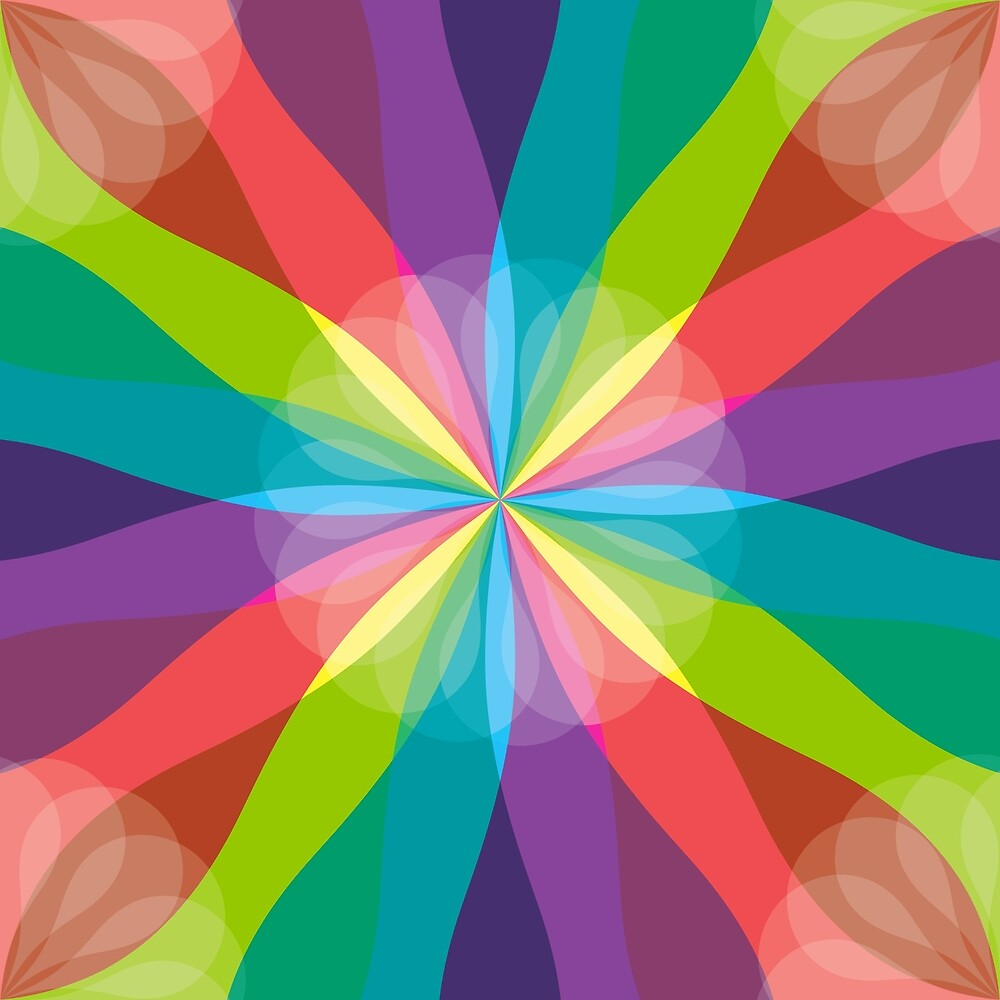 Squared Pinwheel of Bright Crayon Colors by Elaine Plesser