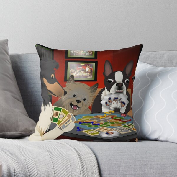 Dogs Playing Settlers of Catan Throw Pillow