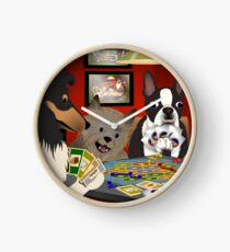 Dogs Playing Settlers of Catan Clock