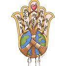 Peace and Love Hamsa - Heal the World by MishkaJaeger