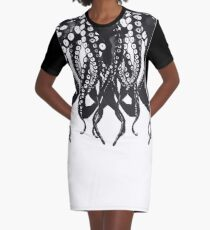 Octopus, black and white tentacle monster 1 Graphic T-Shirt Dress