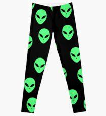 Fluorescent green and black Aliens, UFO pattern Leggings