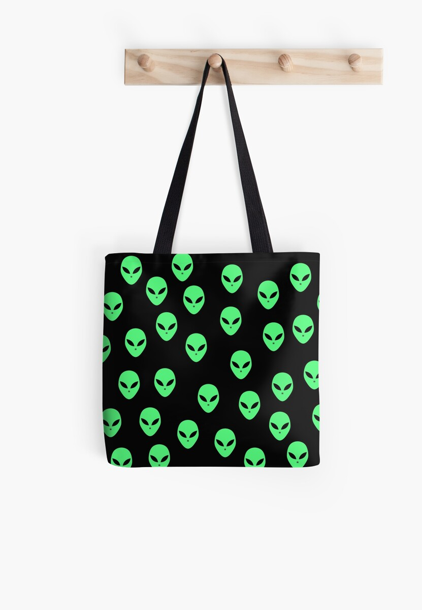 Fluorescent green and black Aliens, UFO pattern by cool-shirts