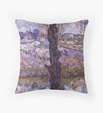 View of Arles, Flowering Orchards by Van Gogh Throw Pillow