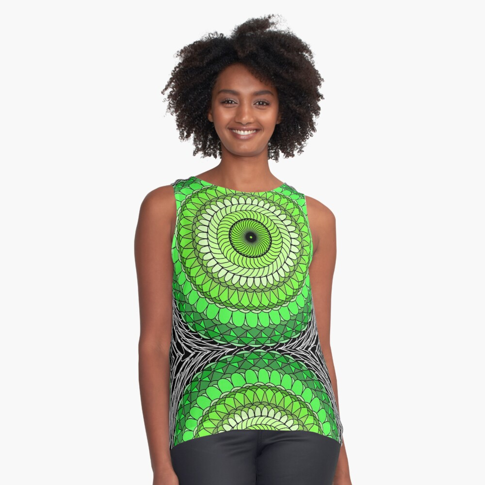 Green Abstract Contrast Tank Front