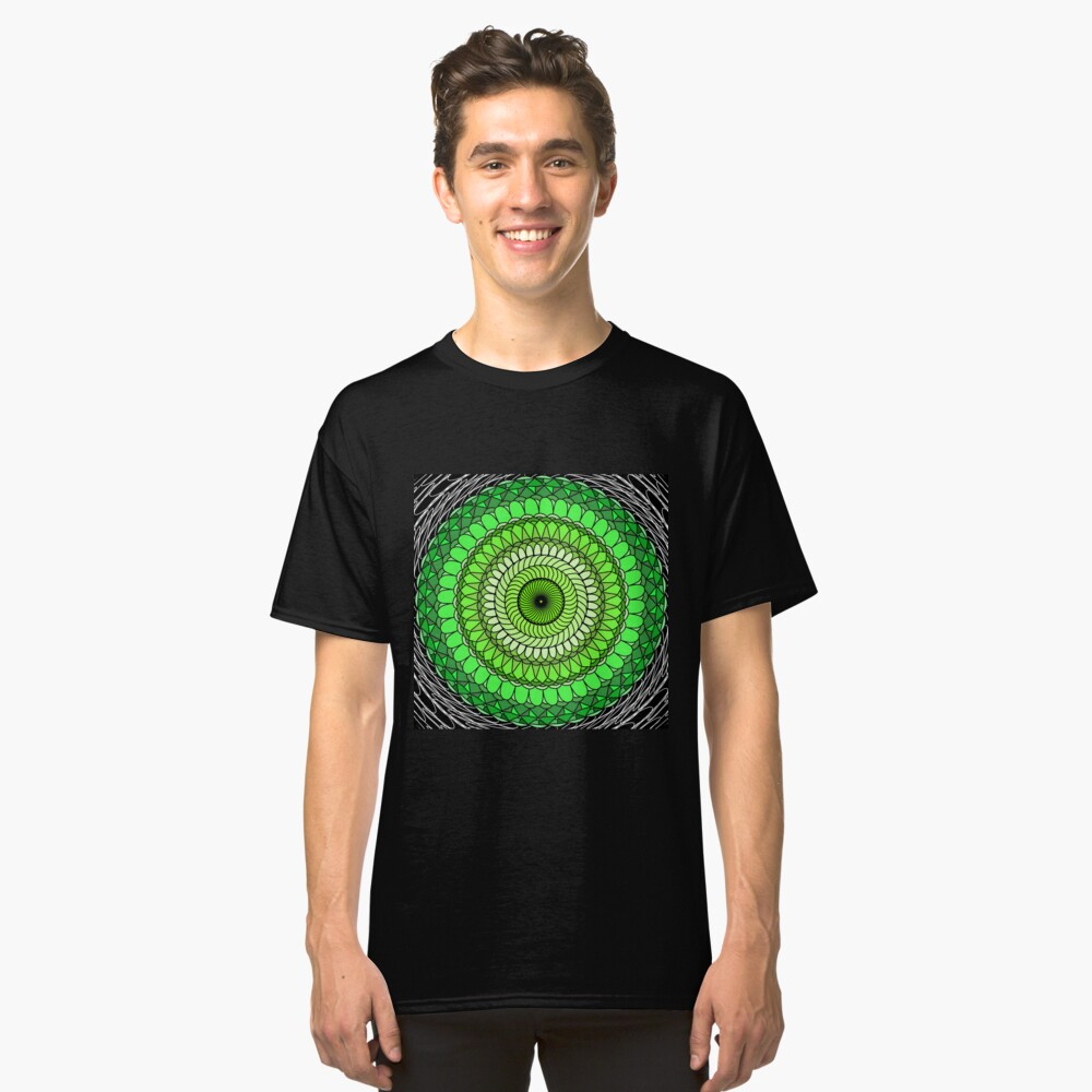 Green Abstract Classic T-Shirt Front