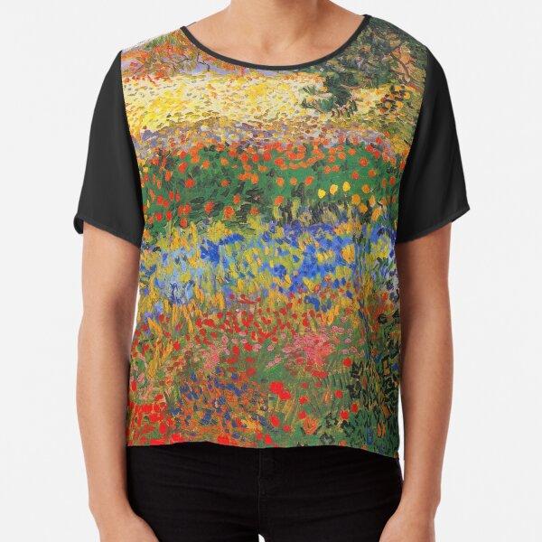 Flower Garden Painting by Vincent Van Gogh Chiffon Top