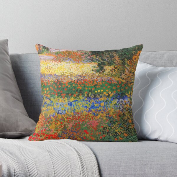 Flower Garden Painting by Vincent Van Gogh Throw Pillow