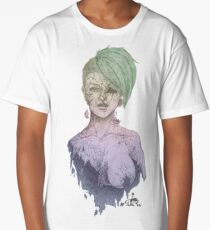 Cracked (Green Multicolor) WHITE Long T-Shirt