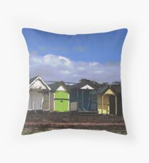 Thorpe Bay Beach Huts Throw Pillow