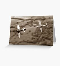 The Chase - Sepia Greeting Card