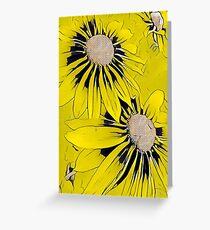 Yellow Flower Print Greeting Card