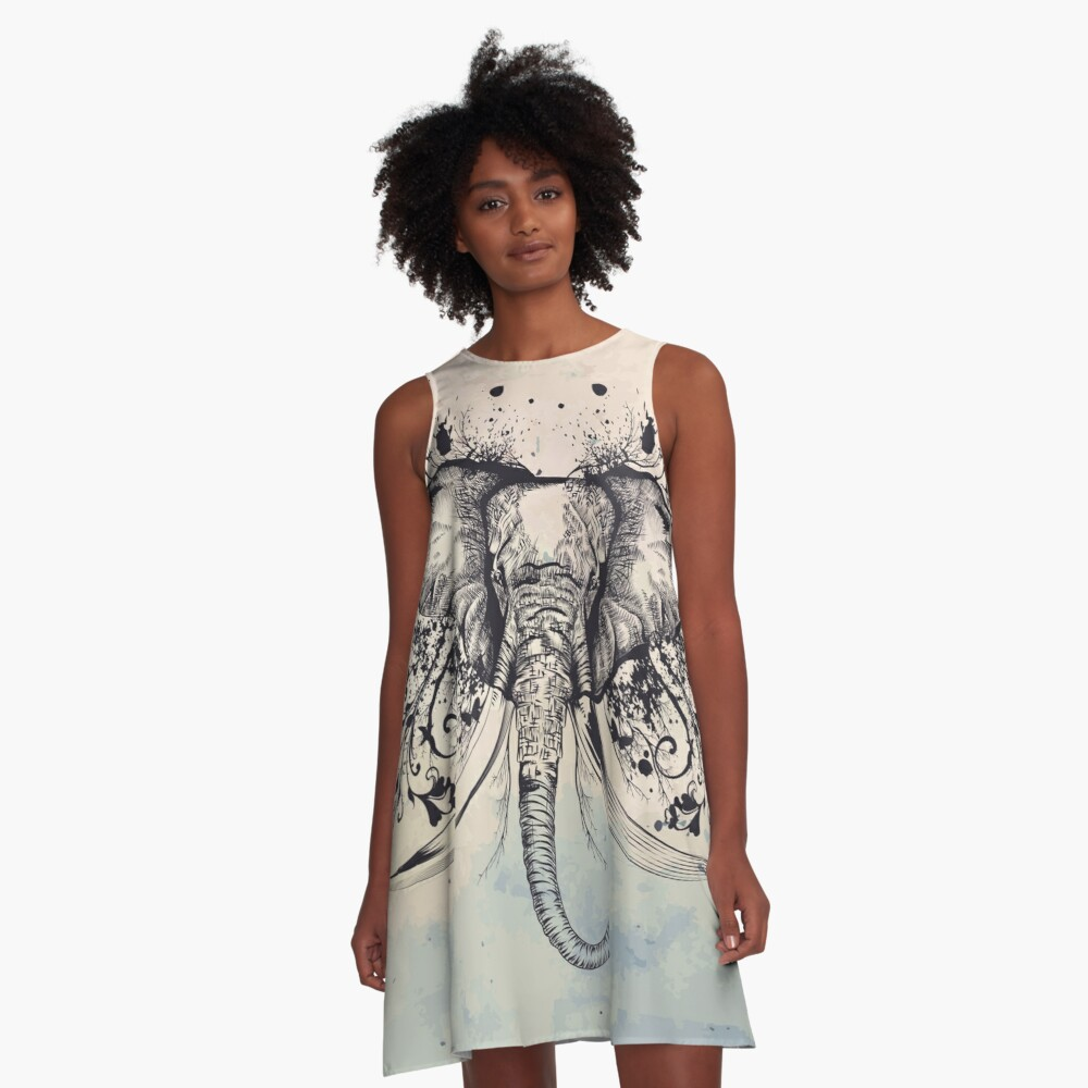 Flourishing Elephant Head A-Line Dress Front