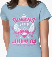 Queens Are Born On July 04 Womens Fitted T-Shirt