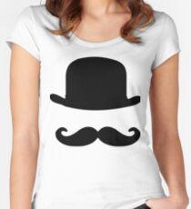 nostalgic, vintage, bowler, hat, moustache, funny Women's Fitted Scoop T-Shirt