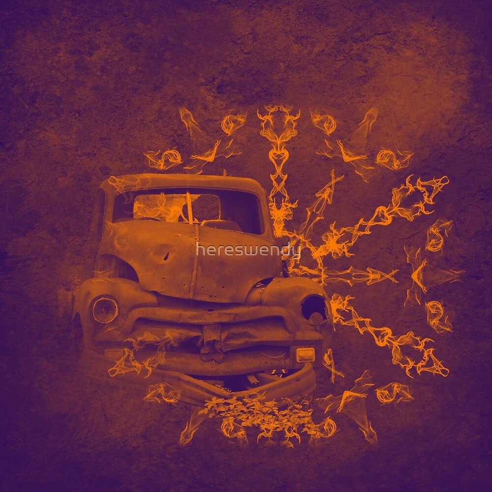 Abstract rusty car in purple and orange by hereswendy