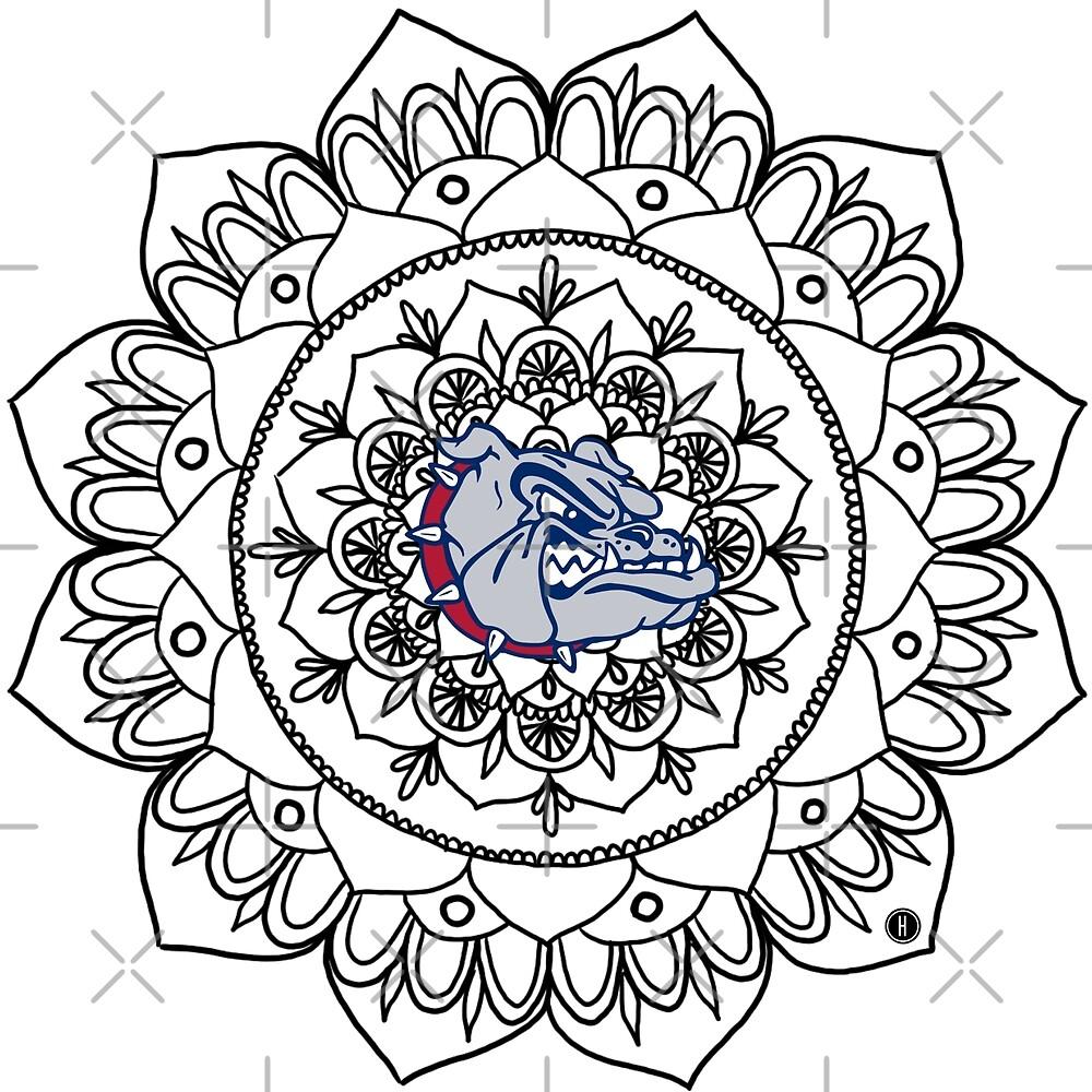 Gonzaga Bulldog Mandala - BLACK by Halei Agra