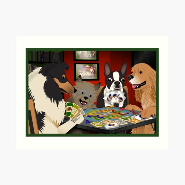Dogs Playing Settlers of Catan Art Print