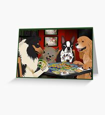 Dogs Playing Settlers of Catan Greeting Card