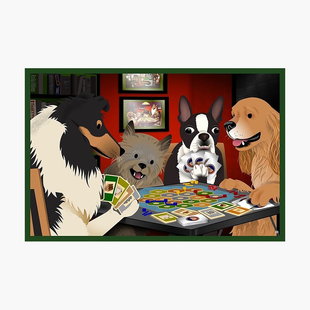 Perros jugando a los colonos de Catan Lámina fotográfica