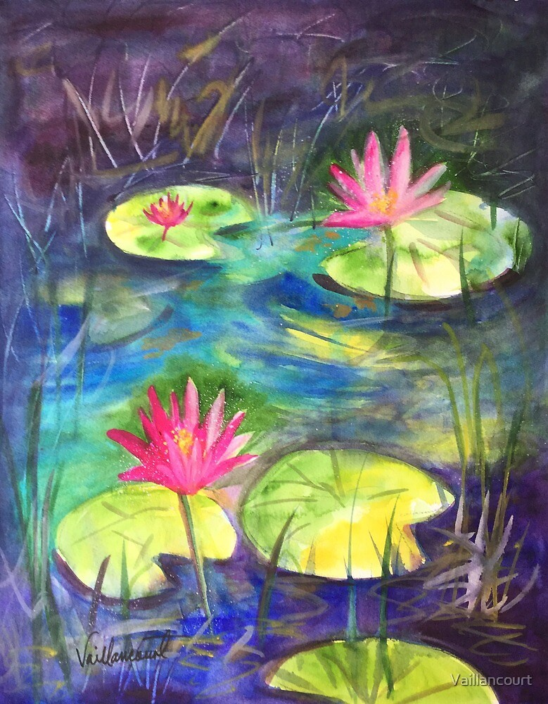 Pink Lotus Blossoms by Vaillancourt