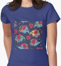 elephants and roses - fashion style Womens Fitted T-Shirt