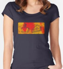 Coffee and Pie Pictogram Women's Fitted Scoop T-Shirt
