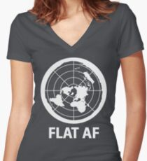 Flat AF Flat Earth Society  Women's Fitted V-Neck T-Shirt