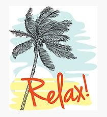 Relax! Retro 80s Vacation Style Photographic Print