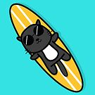 Surfer Cat by cartoonbeing