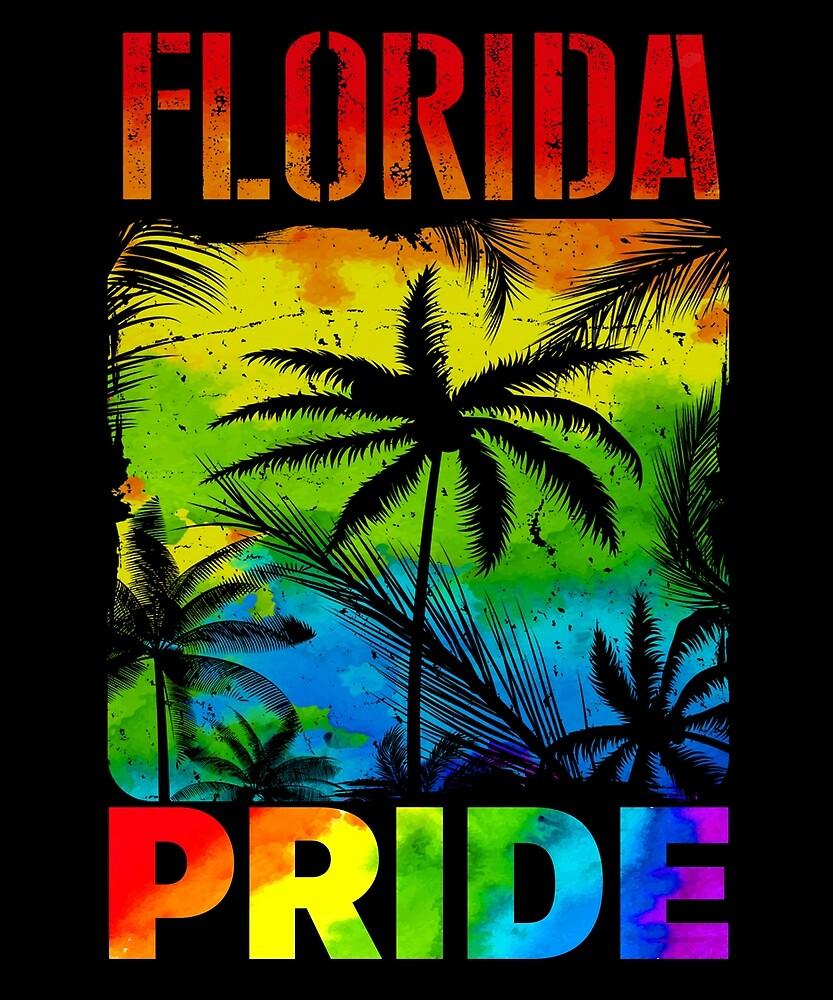 Florida LGBT State Gay Pride Rainbow Flag T Shirt by sondinh