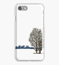 Lacy linocut trees iPhone Case/Skin