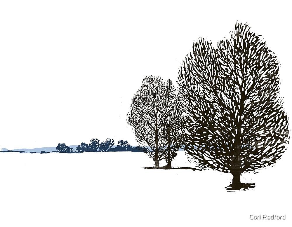 Lacy linocut trees by Cori Redford
