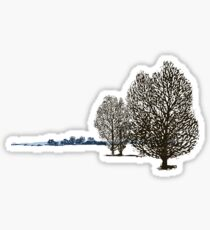 Lacy linocut trees Sticker