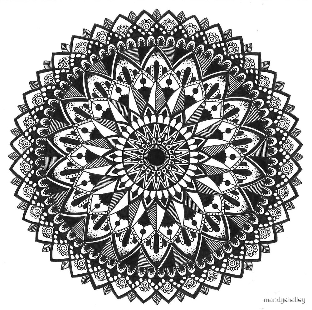 Black and White Mandala 18 by mandyshalley