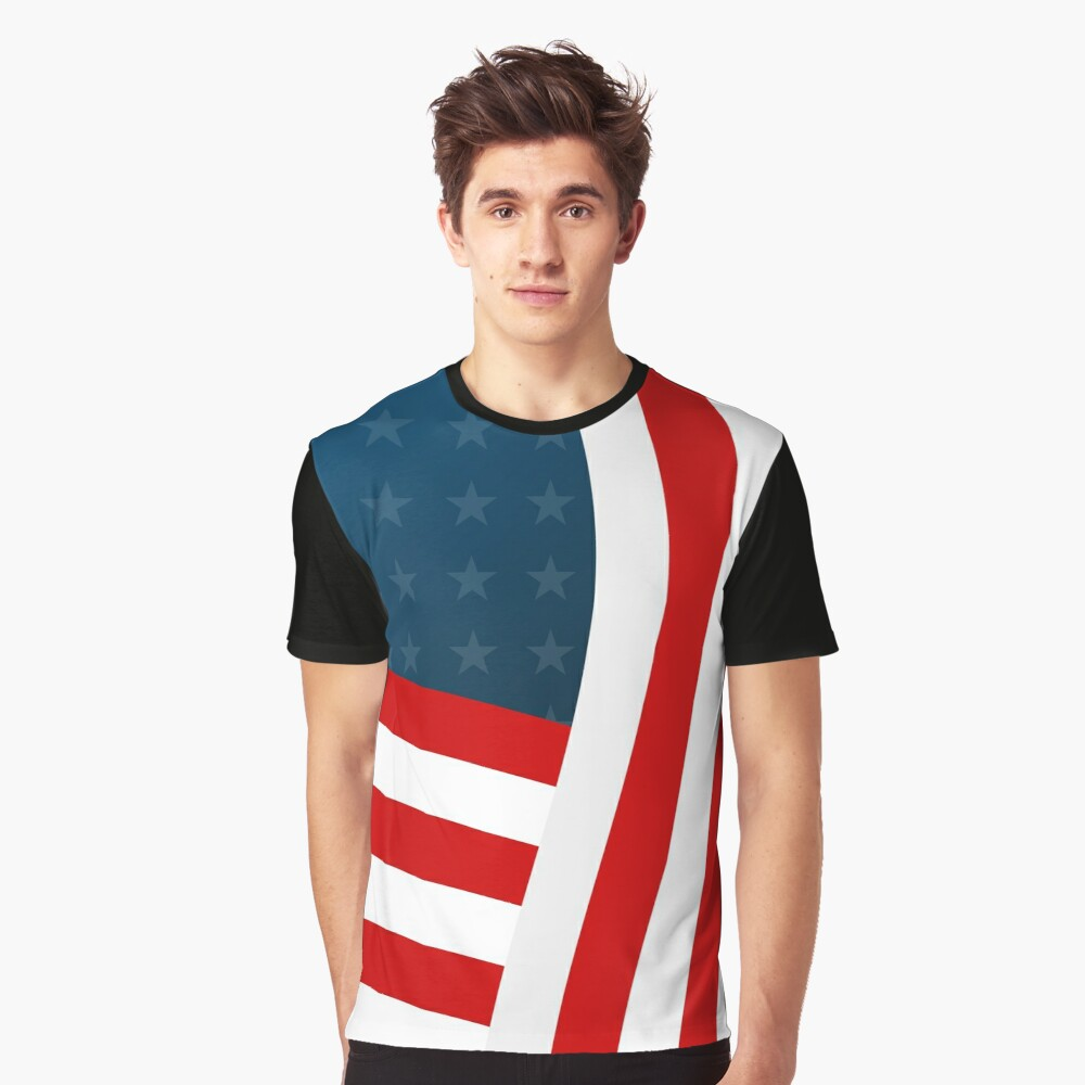 Stylized USA flag Graphic T-Shirt Front