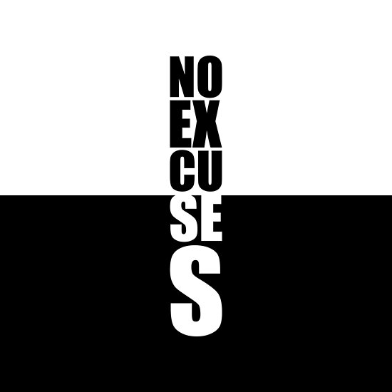No excuses... Gym Motivational Quote by MOSAICART