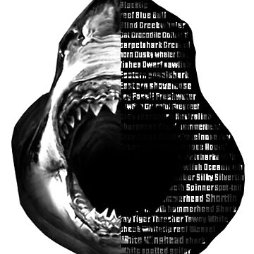 Shark Week Text Portrait Shirt Black and White by torpedo1829
