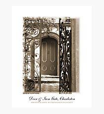 Charleston Door & Iron Gate in Sepia Photographic Print