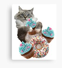 Donut Cupcake Cat Canvas Print
