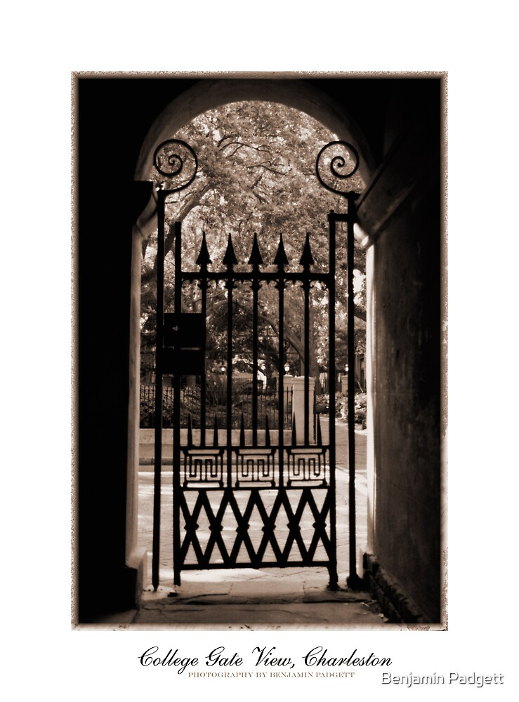 College of Charleston Gate View in Sepia by Benjamin Padgett