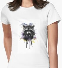 Raccoon Galaxy Womens Fitted T-Shirt