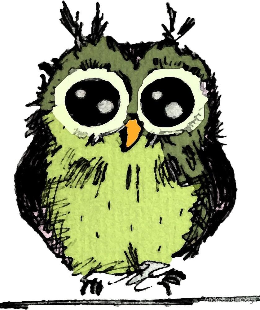 Niedliche grüne Eule mit großen Augen by Andrea Jamrosy