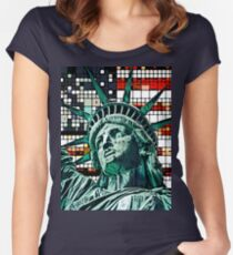Patriotic Statue of Liberty Women's Fitted Scoop T-Shirt