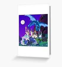 my little pony dragon over canterlot Greeting Card