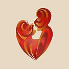 Lovers Kiss And Their Bodies Form A Love Heart Isolated by taiche